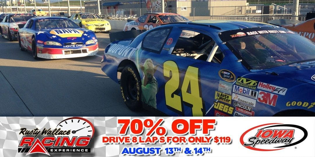 70% OFF Race Car Driving Experiences at Iowa Speedway August 13th & 14th