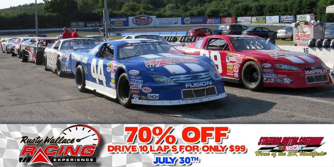 70% OFF Race Car Driving Experiences at Stafford Motor Speedway July 30th